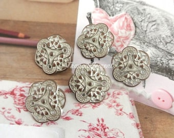 5 Retro Vintage Style Silver Steampunk Floral Flower Shirt Wedding Jacket Coat Sweater Metal Button 0.75 Inches / 1.8 cm