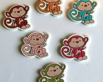 SET of 5 buttons monkey 2 holes in the pink choice animal scrap sewing