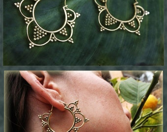 Brass Shakti Flower Tribal Hoops