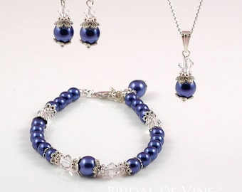 Bridal Cobalt Blue Jewellery Set, Earrings, Bracelet, Necklace  with CRYSTALLIZED™- Swarovski Crystals