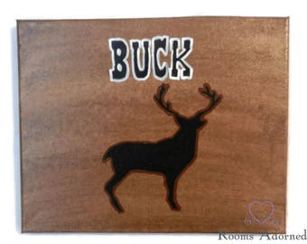 Buck Deer Silhouette Acrylic on Canvas