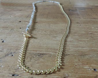 Gold chevron and Agate necklace