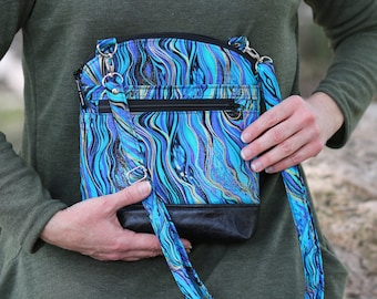small crossbody bag - small vegan purse - gift for her - blue fabric purse for women - zipper purse