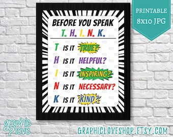 Printable 8x10 Think Before You Speak Superhero Classroom Decor | Digital JPG File, Instant Download