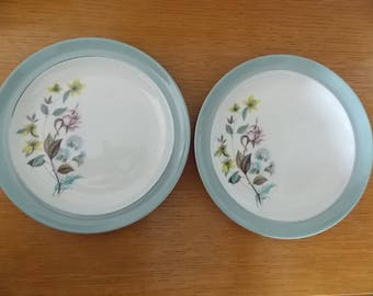 Two Pretty vintage 'Longleat' tea plates by Bristol Pottery, 1950's/60's, floral pattern with duck egg blue edge