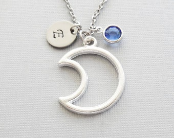 Moon Necklace, Crescent Moon, Moon Silhouette, Celestial, Swarovski Birthstone, Silver Initial, Personalized, Monogram, Hand Stamped Letter