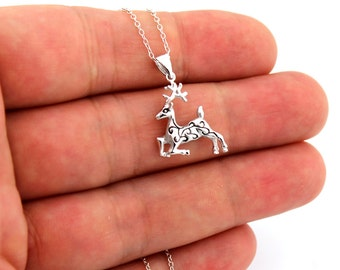 """Sterling silver 925 Reindeer Pendent Deer necklace With Stylized Design and adjustable from 16"""" to 18"""" chain (N-45)"""