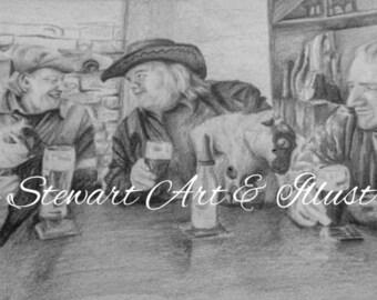 Pencil Drawing of Irish Pub