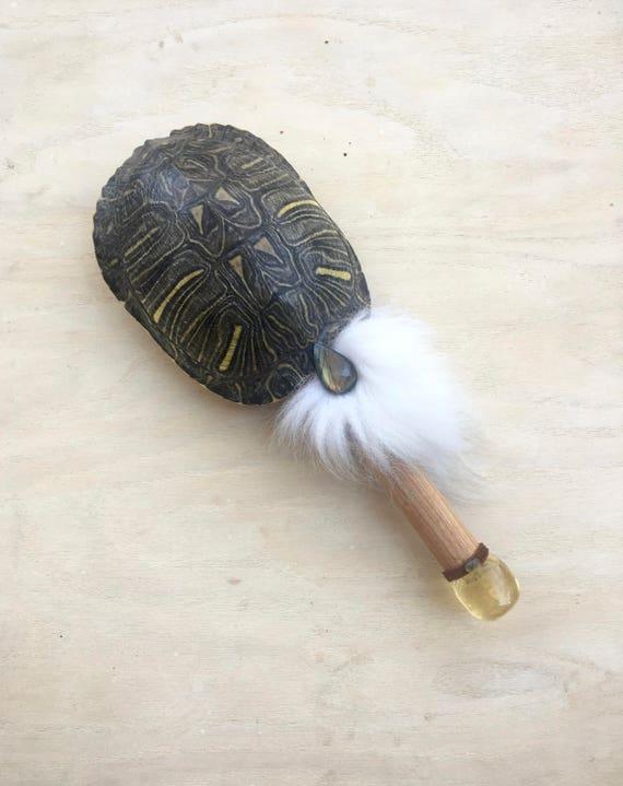 Turtle, Canary Wood, Honey Calcite, Labradorite, Shamanic Healing Rattle, Shaker, Ceremonial, Reiki Energy Healing, Native American OOAK