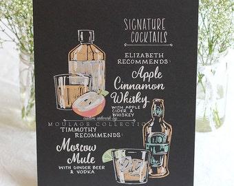 "Signature drink menu, 11""x14"" art board, custom ink drawing by hand"