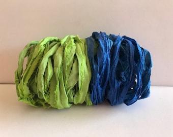 Silk Sari Ribbon-Recycled Leaf Green & Blue Sari Ribbon-10 Yards