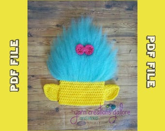 Yellow and Blue Troll Hat Pattern ** PDF File ONLY*** Instant Download