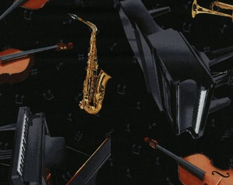 Timeless Treasures - Musical Instruments Toss - Black - Fabric by the Yard C3115-BLACK