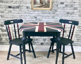 Union Jack British Flag Dining Kitchen Table and 2 Chairs