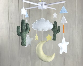 Baby mobile - cactus mobile - saguaro cactus - felt cactus - cloud mobile - moon mobile - nursery decor - desert mobile - saguaro cacti