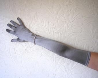 Silver Opera Gloves, Burlesque Gloves, Long Evening Gloves, Vintage, Dents One Size, Boudoir, Flapper, Cabaret, Wedding, Stretch Nylon