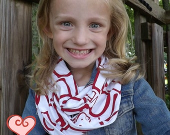 GIRLS LOVE Infinity Scarf Love Letters Red White Jersey Knit Infinity Scarf Girl's Mommy and Me  Accessories