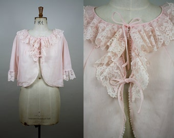 1960s Bed Jacket / Nylon Bed Jacket / Pale Pink / Lace Frill /  1960s Lingerie / 1960s Nightwear / Size Large / M L XL