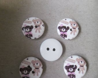 x 5 wood buttons painted small Cubs 2-hole 15 mm