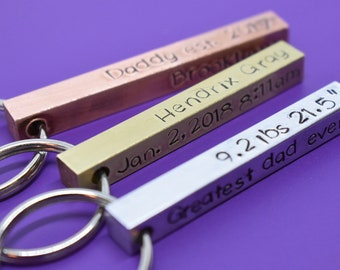 Fathers Day Gift - Personalized -Dad Gift - Dad Keychain - Father's Day Gift - Gift for Dad - Grandpa - Dad est. Childrens name - 4 sided