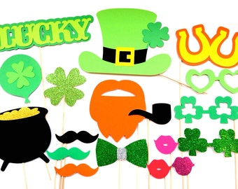St. Patrick's Day Photo Booth Props - 18 piece prop set - St. Patty's Day Props - Irish Photo Booth Props