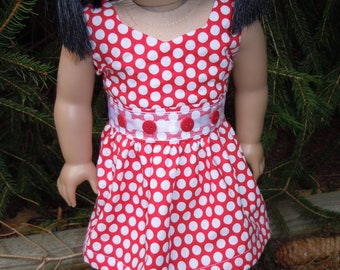 Red and white sleeveless dress to fit american girl or 18 in. doll