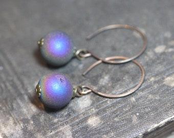 Druzy Quartz Earrings Antiqued Brass Luxe Rustic Jewelry Purple Earrings