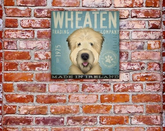 Wheaten Terrier Trading company original graphic artwork on gallery wrapped canvas by stephen fowler