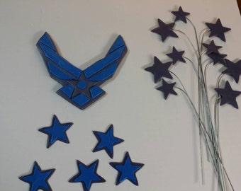Edible fondant Air Force military emblem with stars