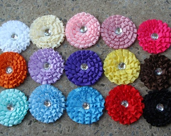 """5 Flowers Grosgrain Ribbon Flower 3"""" large ribbon flower headband flower hair clip flower You choose color"""