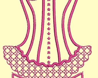 corset  Machine embroidery design - 80 mm x 60 mm / 3.2 inc x 2.4 inc / 4100 stc