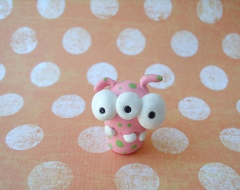 FREE US SHIPPINGPink with Green Dots Three-Eyed Monster Alien Polymer Clay Ooak Miniature Figurine