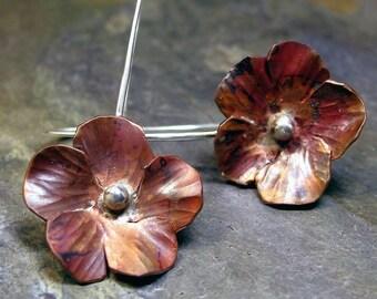 Copper flower earrings - Autumnflower