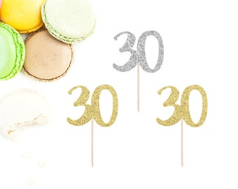 30 Cupcake Toppers (Set of 12) | 30th Birthday Party | Dirty 30 | 30th Party Decor | Hello 30 | Thirtieth Birthday Toppers | Hello Thirty