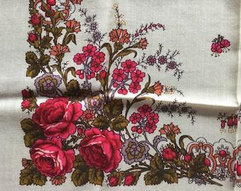 Vintage Shawl Wool Babushka Shawl Russian Head Scarf Floral Pattern.