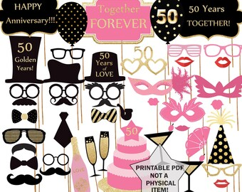"""50th Anniversary Party Photo Booth Prop: """"ANNIVERSARY PROPS"""" Party supplies Printable Pdf Black and gold props Photo Booth supplies"""