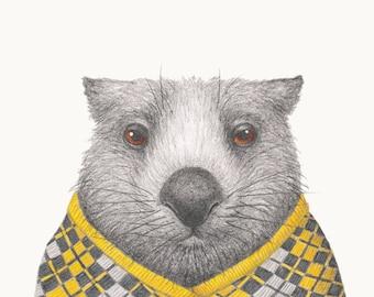 Winter Woollies Wombat Print