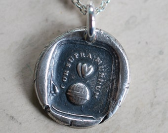 two hearts above the world wax seal necklace pendant - hearts above the world - Latin motto silver antique wax seal jewelry