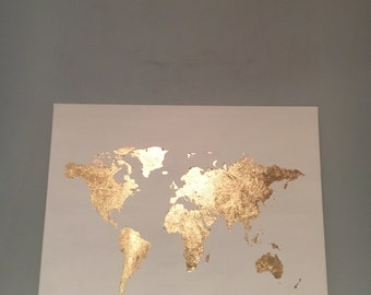 White and Gold Leaf Map of the World Canvas