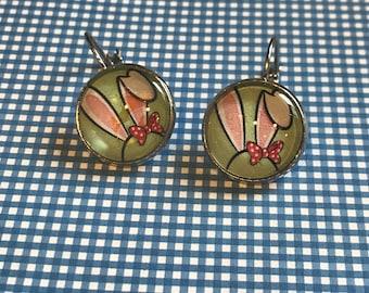Bunny rabbit ears cabochon earrings - 16mm