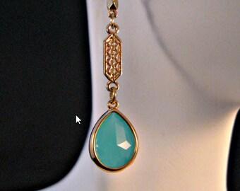 Gold bezel drop earrings,dangle earrings,bezel earrings,gold earrings,teal earrings,gold jewelry,drop earrings,14kt gold,turquoise earrings