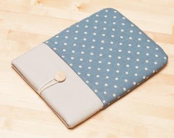 Kindle Paperwhite case / kindle case / Kobo Aura sleeve / kindle voyage case - Linen blue dots
