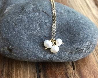 Pearl Necklace• Freshwater Pearls • Gold Pearl Necklace • Bridal Jewelry Pearl • Pearl Necklace for Girls • Floating Pearl