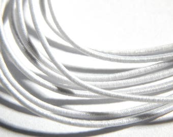 1mm White Round Elastic Cord with Nylon - 5 Yards, (INDOC137)