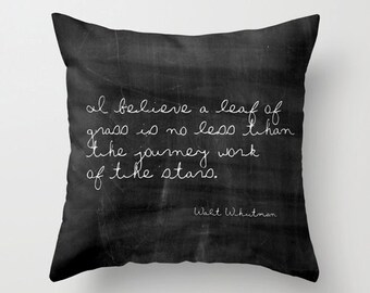Inspirational Pillow, Walt Whitman, Farmhouse Decor, Quote Pillow, Rustic Home Decor, Black Throw Pillow, Velvet Cushion Cover, 18x18, 22x22