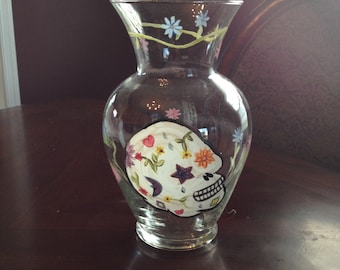 Painted Glass Vase - skull design