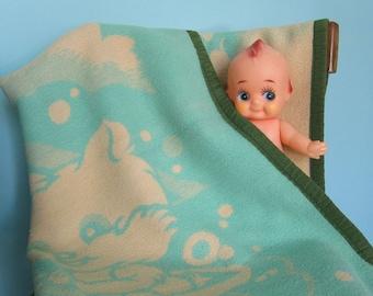 Vintage Baby Blanket, Jadeite Green, Reversible - Jadeite Baby Blanket, Kawaii Baby Blanket