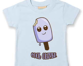Personalised Ice Lollie Name- (Enter Own Name) - Soft Cotton Child's T-Shirt- KTS1249