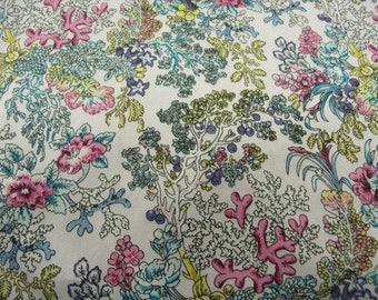 Pink & blue floral tree print cotton fabric