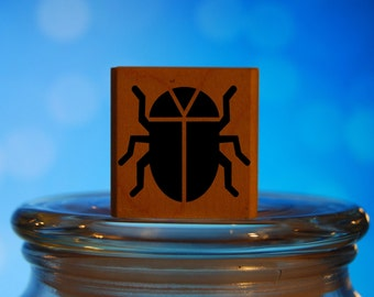 Beetle Rubber Stamp Mounted Wood Block Art Stamp